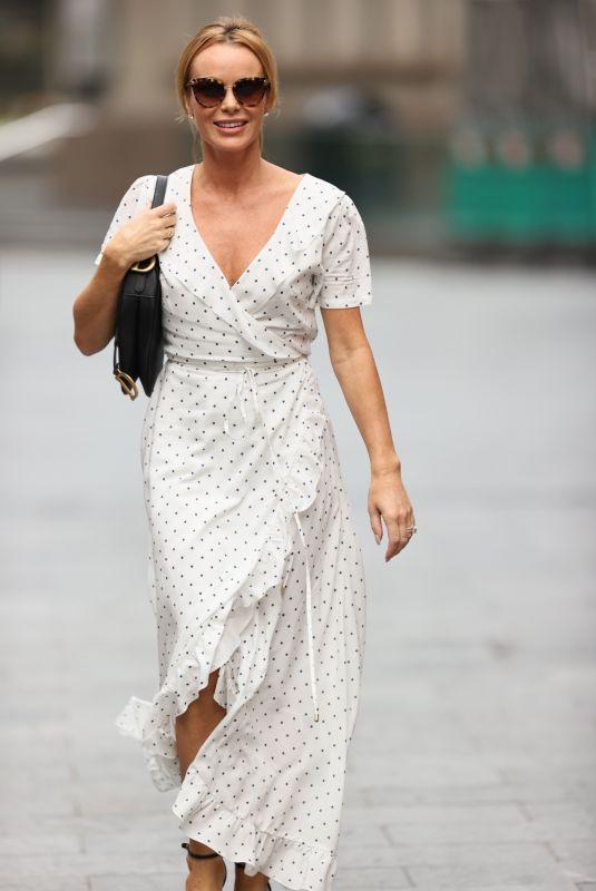 AMANDA HOLDEN in a White Polka Dot Dress Arrives at Heart Radio in London 09/11/2020