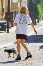 ASHLEY BENSON Out with Her Dog in Los Angeles 09/29/2020