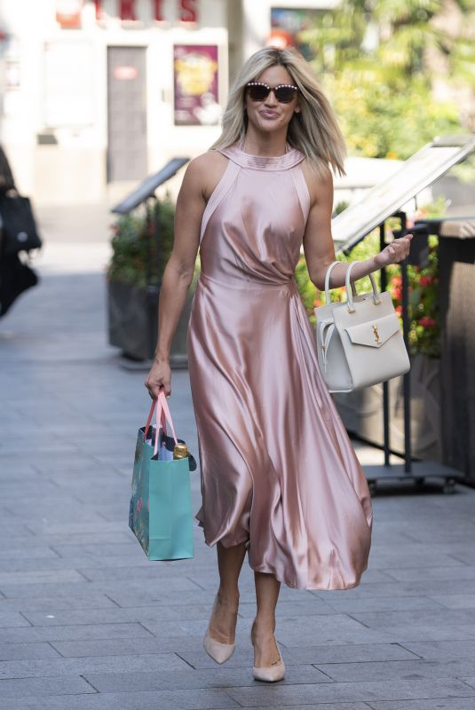 ASHLEY ROBERTS in a Long Shiny Dress Out in London 09/14/2020