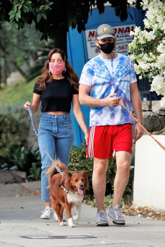 AUBREY PLAZA and Jeff Baena Out with Their Dogs in Los Angeles 08/27/2020