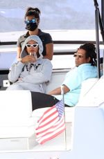 BEYONCE and her husband Jjay Z at a Boat Ride in The Hamptons 09/14/2020