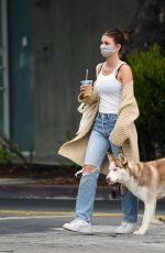 CAMILA MORRONE in Ripped Denim Out with Her Dog in Los Angeles 09/11/2020