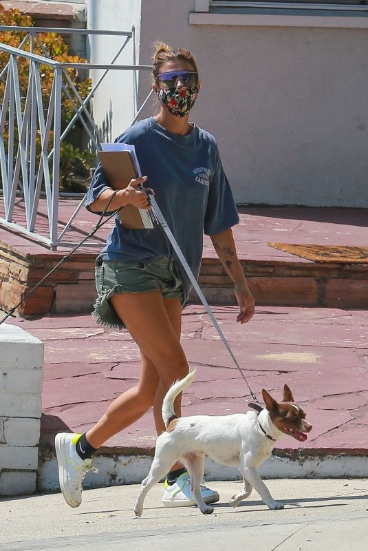 ELISABETTA CANALIS in Denim Shorts Out with Her Dogs in Beverly Hills 09/02/2020