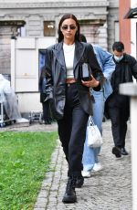 IRINA SHAYK Leaves Hugo Boss Fashion Show in Milan 09/23/2020