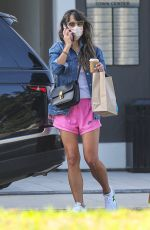 JORDANA BREWSTER in a Pink Shorts Out for Coffee in Brentwood 09/22/2020