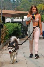 JULIANNE HOUGH in Tights Out with Her Dog in Los Angeles 09/11/2020