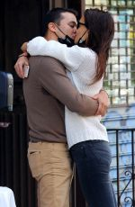 KATIE HOLMES and Emilio Vitolo Jr. Kissing Outside His Restaurant in New York 09/18/2020