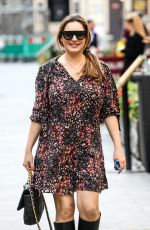 KELLY BROOK in a Floral Mini Dress Arrives at Global Radio in London 09/22/2020