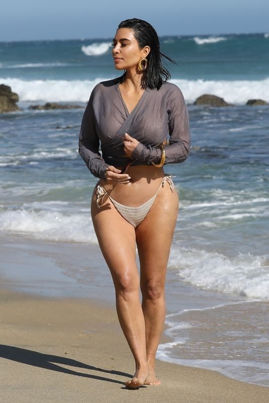 KIM KARDASHIAN in Bikini Bottom Out on the Beach in Malibu 09/09/2020