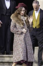 LILY JAMES on the Set of The Persuit of Love in Bath 09/15/2020