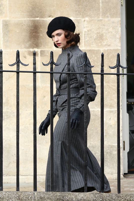 LILY JAMES on the Set of The Persuit of Love in Bath 09/18/2020