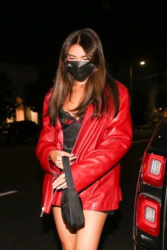 MADISON BEER in a Red Jacket Arrives at 40 Love in West Hollywood 09/09/2020