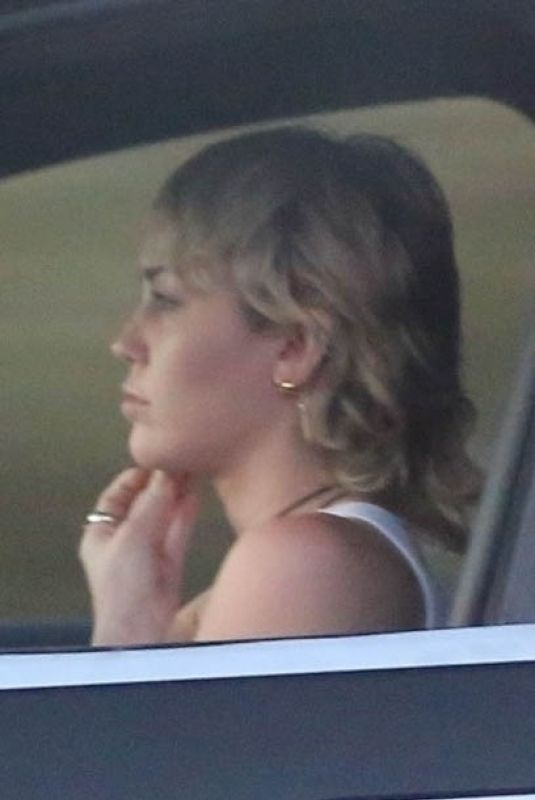 MILEY CYRUS Out Driving in Los Angeles 09/19/2020
