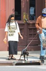 TESSA THOMPSON Out with Her Dog in New York 09/16/2020