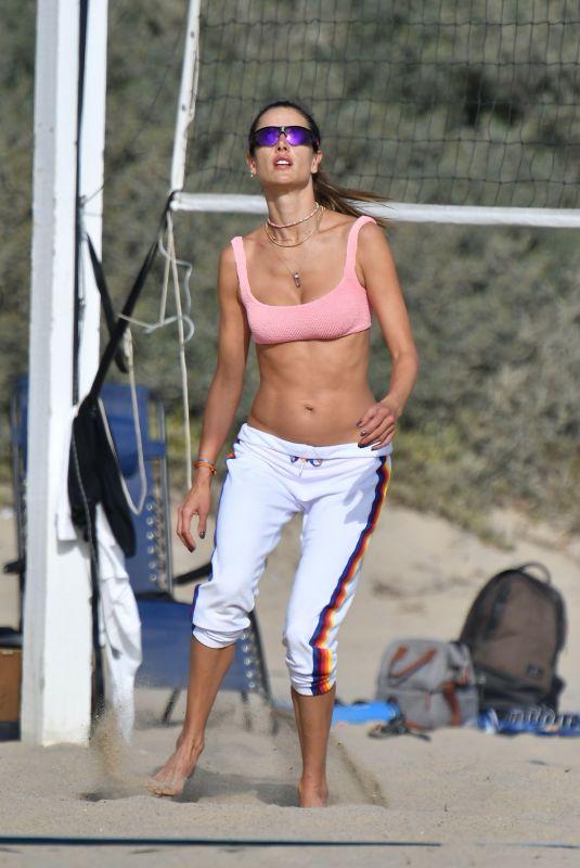 ALESSANDRA AMBROSIO Playing Beach Volleyball 10/24/2020