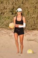 ALESSANDRA AMBROSIO Playing Volleyball at a Beach in Santa Monica 10/15/2020