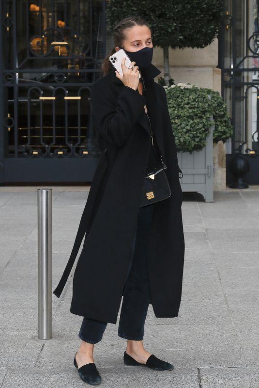 ALICIA VIKANDER Leaves Her Hotel in Paris 10/08/2020