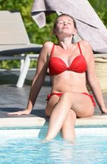 AMY HARD in a Red Bed Bikini at a Pool in Portugal 10/01/2020