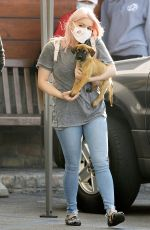 ARIEL WINTER with her Dog at Sherman Oaks Animal Hospital in Los Angeles 10/20/2020