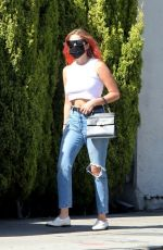 ASHLEY BENSON in Ripped Denim Out Shopping in West Hollywood 10/14/2020