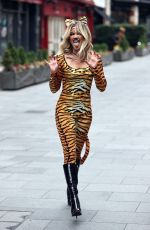 ASHLEY ROBERTS in a Tiger Print Catsuit Leaves Heart Radio in London 10/30/2020