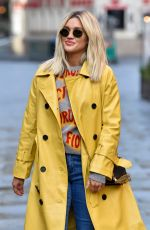 ASHLEY ROBERTS in a Trench Coat Arrives at Heart Radio in London 10/14/2020