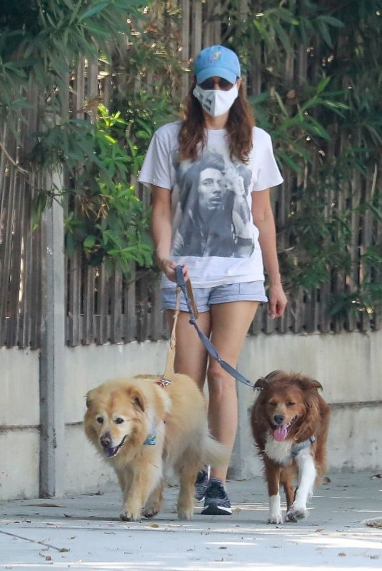 AUBREY PLAZA Out with Her Dogs in Los Angeles 10/03/2020