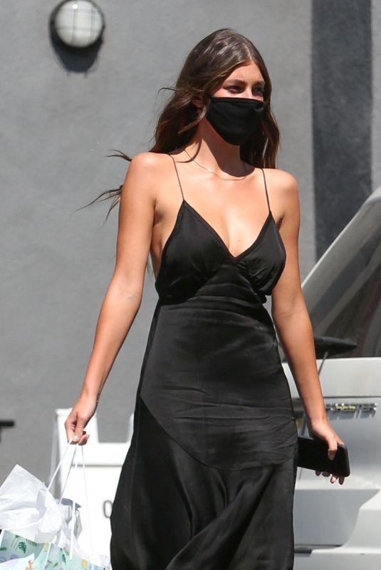 CAMILA MORRONE in a Black Dress Out Shopping on Sunset Blvd in Hollywood 10/03/2020
