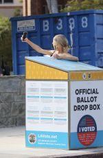 CHARLOTTE MCKINNEY Casting Her Ballot Out in Los Angeles 10/25/2020