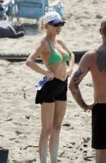 CHARLOTTE MCKINNEY in Bikini Top at a Beach in Los Angeles 10/05/2020