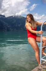 CORINNE SUTER in a Red Swimsuit at a Photoshoot, August 2020