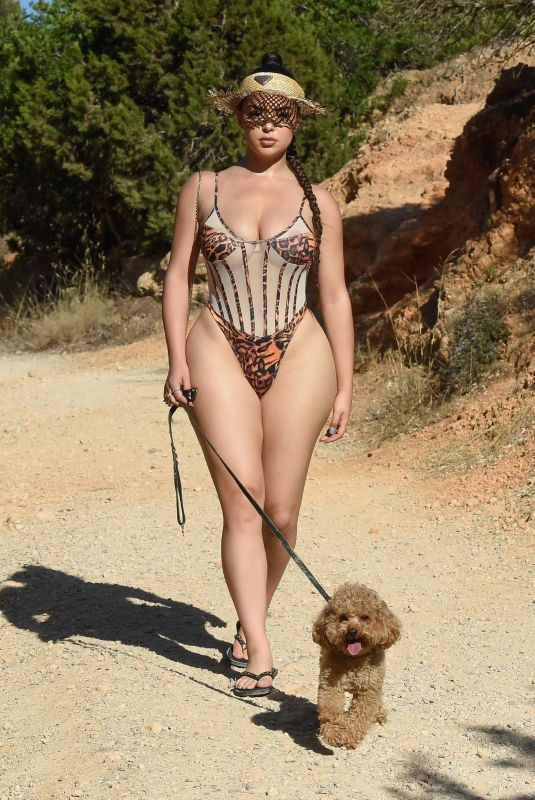 DEMI ROSE in Swimsuit Out with Her Dog in Ibiza 09/24/2020