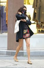 FAMKE JANSSEN in a Floral Mini Dress Out in New York 10/22/2020