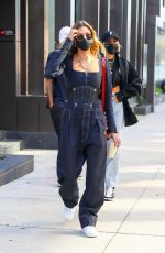 HAILEY BIEBER in Double Denim Leaves Her Apartment in New York 10/15/2020