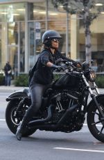 HALLE BERRY Driving Her Harley Davidson Bike Out in Beverly Hills 10/27/2020