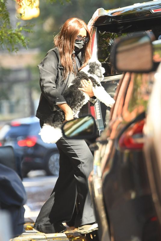 IMAN Out with Her Dog in New York 10/15/2020