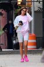 IRINA SHAYK in Tight Biker Shorts Out in New York 10/15/2020