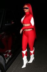 KYLIE JENNER as Power Ranger Arrives at Halloween Party in Beverly Hills 10/30/2020