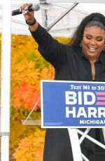 LIZZO Speak at Campaigns for Democratic Presidential Candidates Joe Biden and Kamala Harris in Detroit 10/23/2020