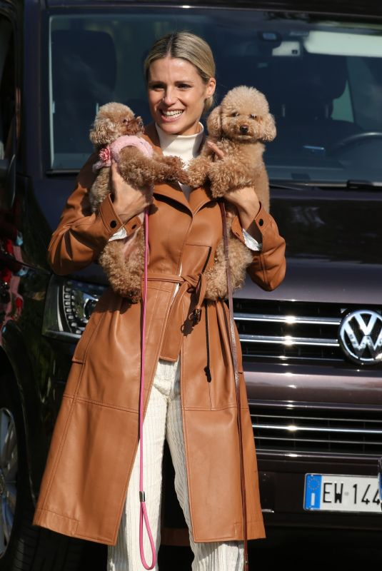 MICHELE HUNZIKER Out with Her Dogs in Bergamo 10/10/2020