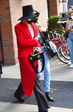 MILEY CYRUS in a Red Trench Coat Out in New York 10/02/2020