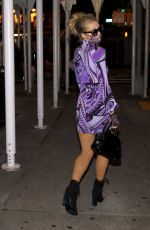PARIS HILTON in a Purple Mini Dress Out in New York 10/29/2020