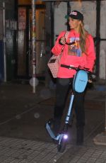 PARIS HILTON Out Riding a Scooter in New York 10/30/2020