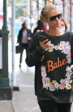 PARIS HILTON Wearing a Babe Sweater Out in New York 10/28/20020