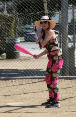 PHOEBE PRICE Playing Baseball Out in Los Angeles 10/11/2020
