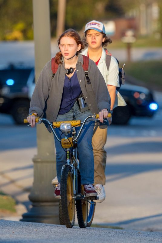 SADIE SINK and Gaten Matarazzo on the Set of Stranger Things, Season 4 in Atlanta 10/20/2020