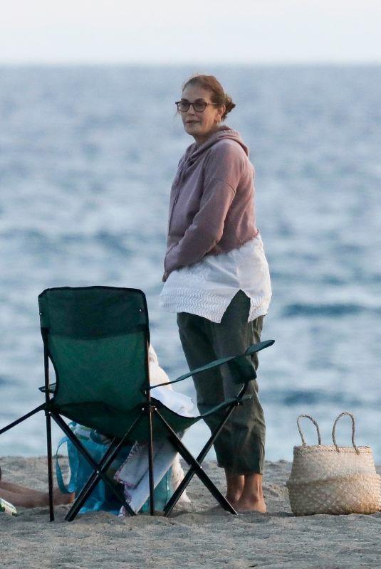 TERI HATCHER Out on the Beach in Malibu 10/11/2020
