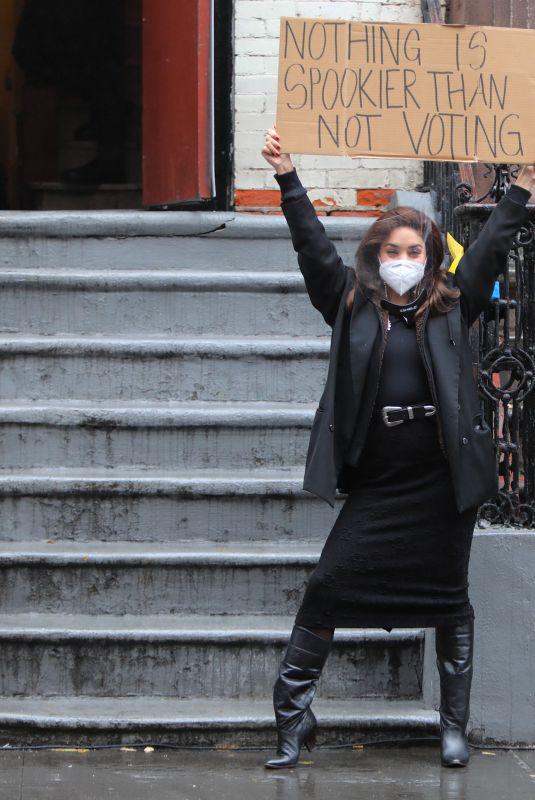 VANESSA HUDGENS on the Set of Tick, Tick... Boom! in New York 10/26/2020