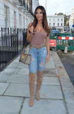YAZMIN OUKHELLOU in Ripped Denim Leaves Fox and Vamp Hair Salon in Chelsea 10/15/2020