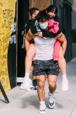ADDISON RAE Gets Piggy Back Ride from Bryce Hall Out in Los Angeles 11/12/2020
